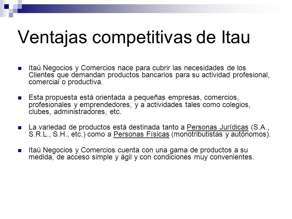 Ventajas competitivas de Itau Itaú Negocios y Comercios nace para cubrir las necesidades de los Clientes que demandan productos bancarios para su acti