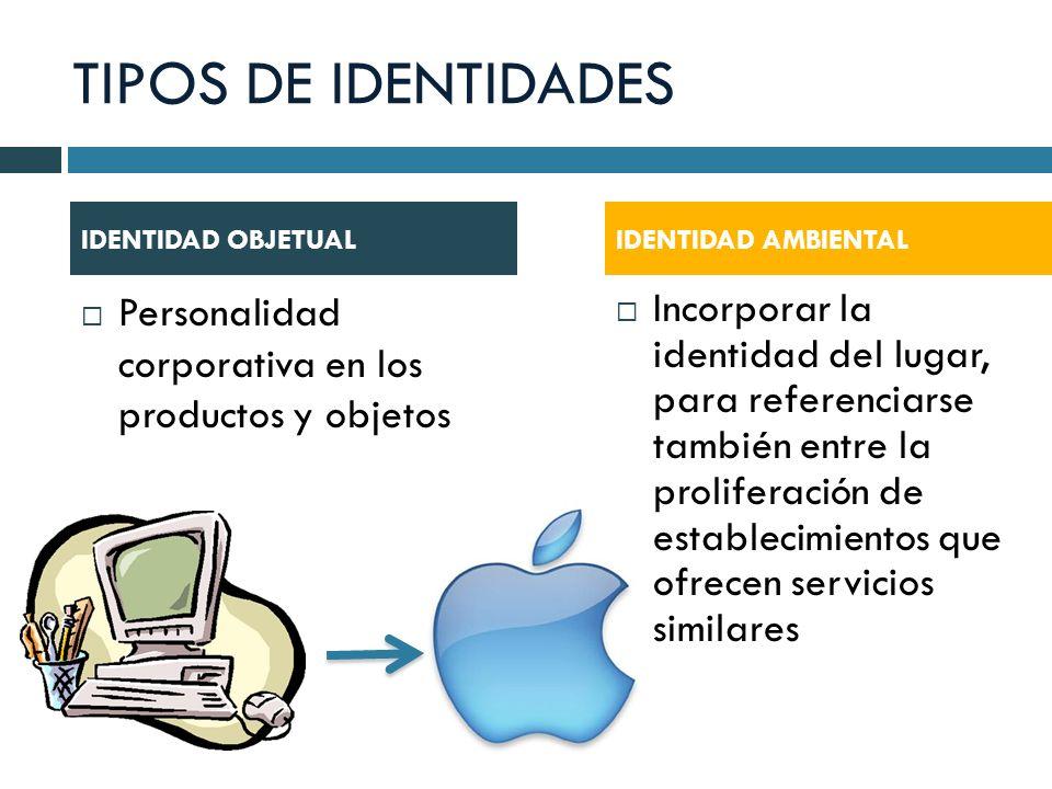 TIPOS DE IDENTIDADES Personalidad corporativa en los productos y objetos Incorporar la identidad del lugar, para referenciarse también entre la prolif