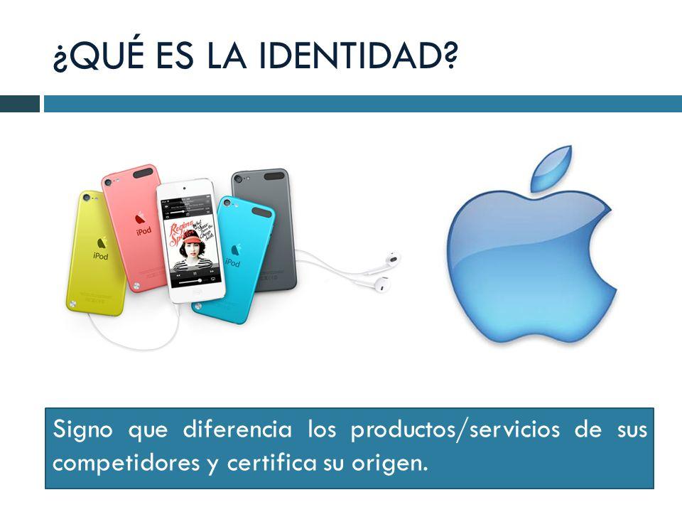 ¿QUÉ ES LA IDENTIDAD? Signo que diferencia los productos/servicios de sus competidores y certifica su origen.