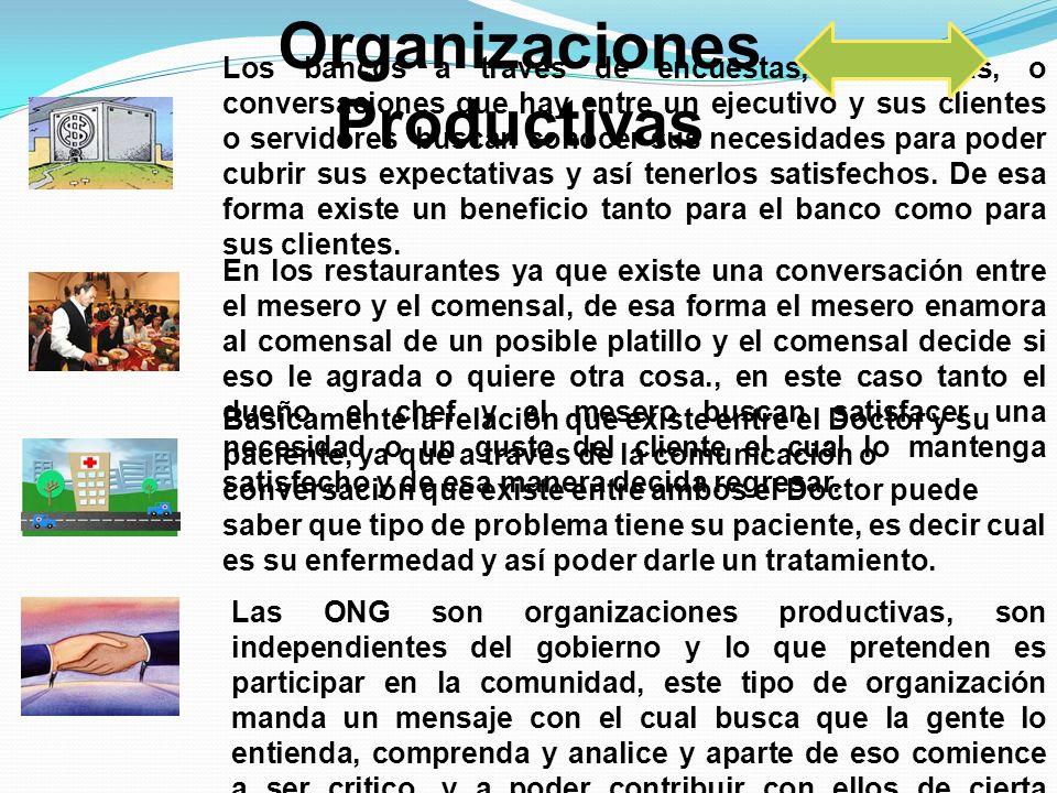 Organizaciones Productivas Los bancos a través de encuestas, entrevistas, o conversaciones que hay entre un ejecutivo y sus clientes o servidores busc