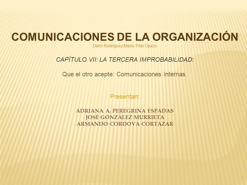 COMUNICACIONES DE LA ORGANIZACIÓN Darío Rodríguez/María Pilar Opazo CAPÍTULO VII: LA TERCERA IMPROBABILIDAD: Que el otro acepte: Comunicaciones intern