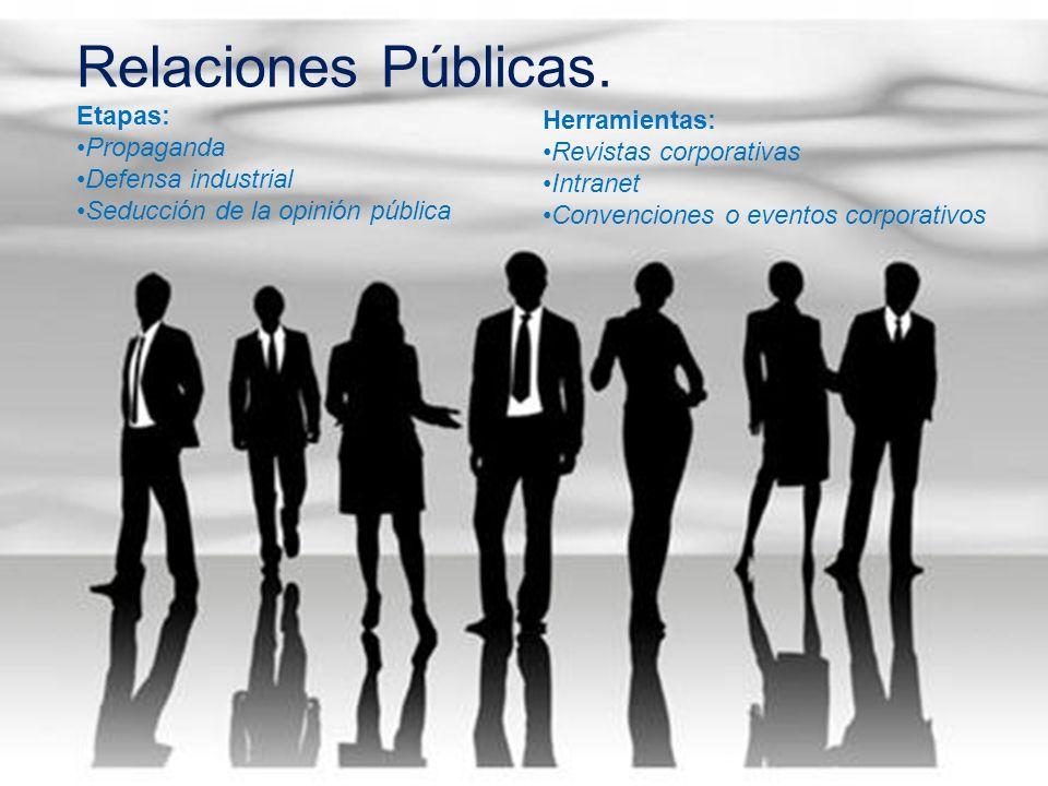 Relaciones Públicas. Etapas: Propaganda Defensa industrial Seducción de la opinión pública Herramientas: Revistas corporativas Intranet Convenciones o