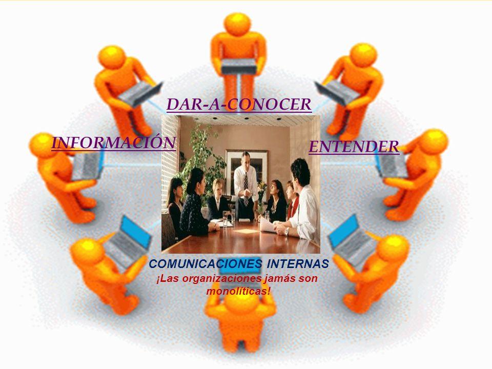 COMUNICACIONES INTERNAS ¡Las organizaciones jamás son monolíticas! INFORMACIÓN DAR-A-CONOCER ENTENDER