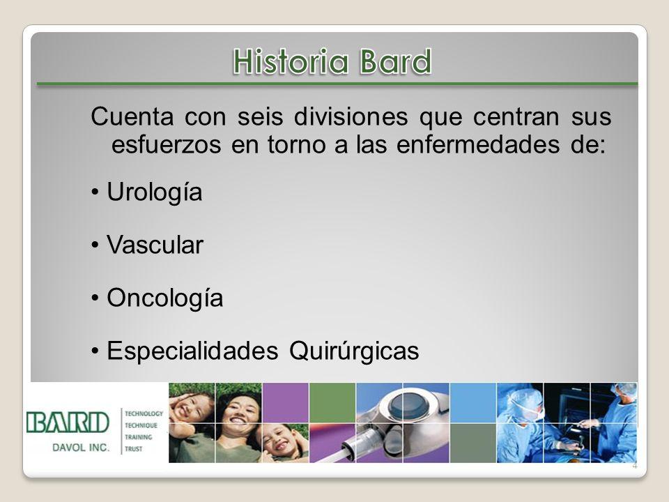 4 Cuenta con seis divisiones que centran sus esfuerzos en torno a las enfermedades de: Urología Vascular Oncología Especialidades Quirúrgicas