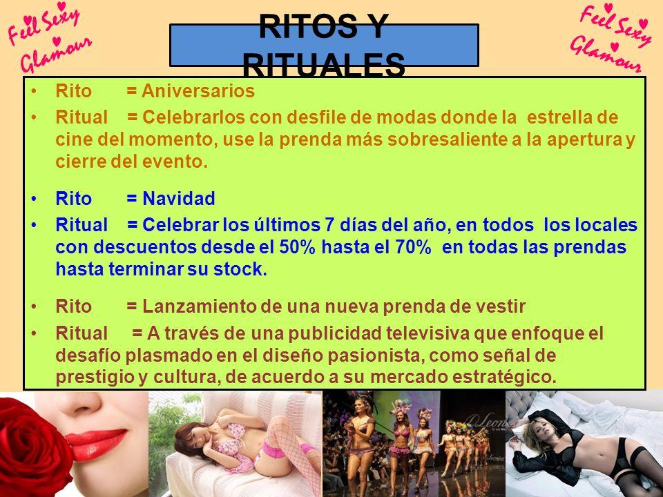 RITOS Y RITUALES Feel Sexy Glamour Rito = Aniversarios Ritual = Celebrarlos con desfile de modas donde la estrella de cine del momento, use la prenda