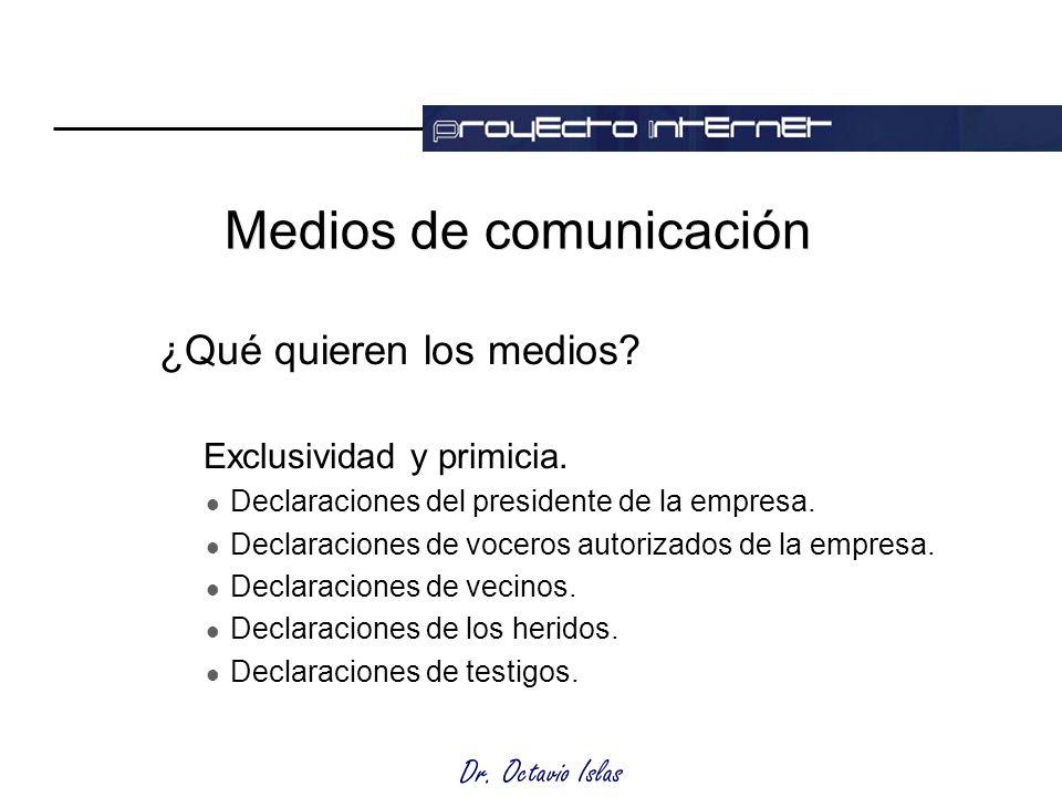 Dr. Octavio Islas Medios de comunicación ¿Qué quieren los medios.