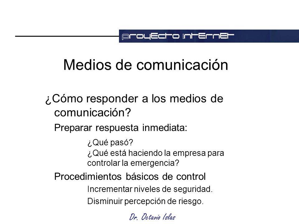 Dr. Octavio Islas Medios de comunicación ¿Cómo responder a los medios de comunicación.