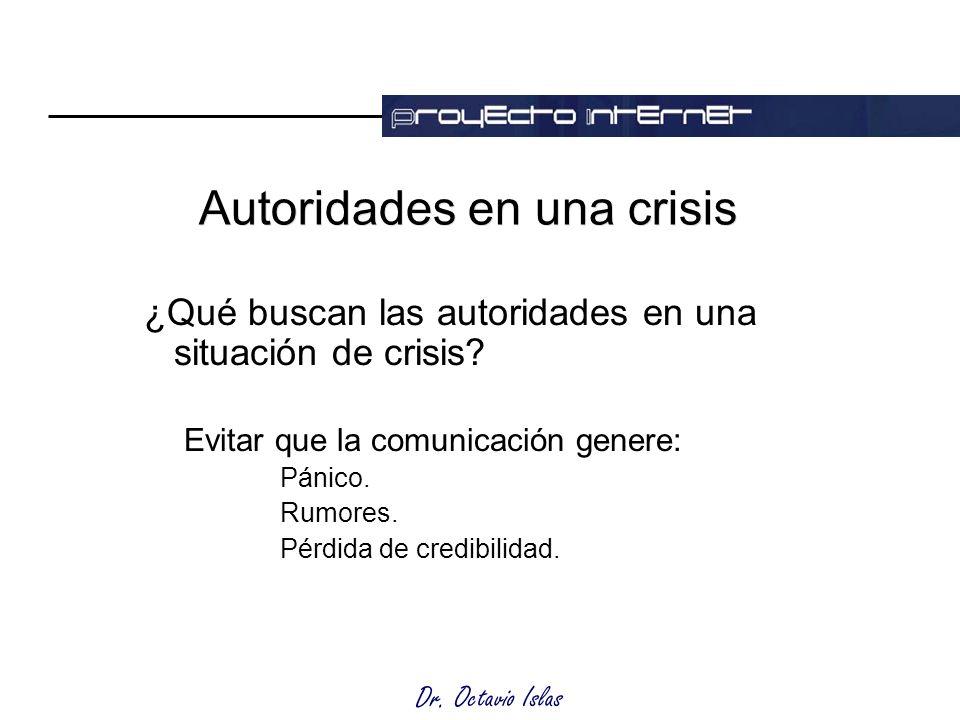 Dr. Octavio Islas Autoridades en una crisis ¿Qué buscan las autoridades en una situación de crisis.