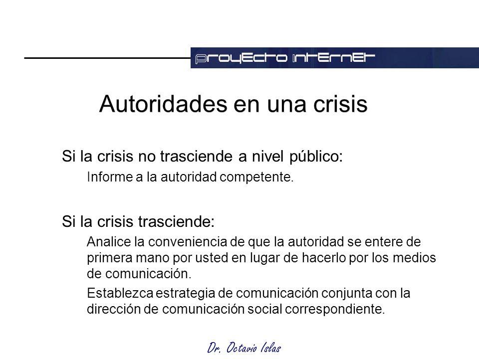 Dr. Octavio Islas Autoridades en una crisis Si la crisis no trasciende a nivel público: Informe a la autoridad competente. Si la crisis trasciende: An
