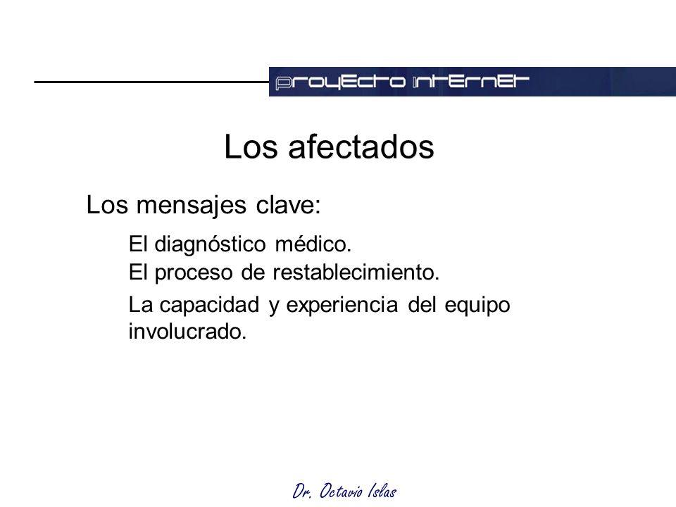 Dr. Octavio Islas Los afectados Los mensajes clave: El diagnóstico médico.