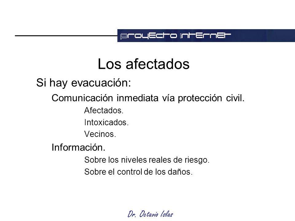 Dr. Octavio Islas Los afectados Si hay evacuación: Comunicación inmediata vía protección civil.