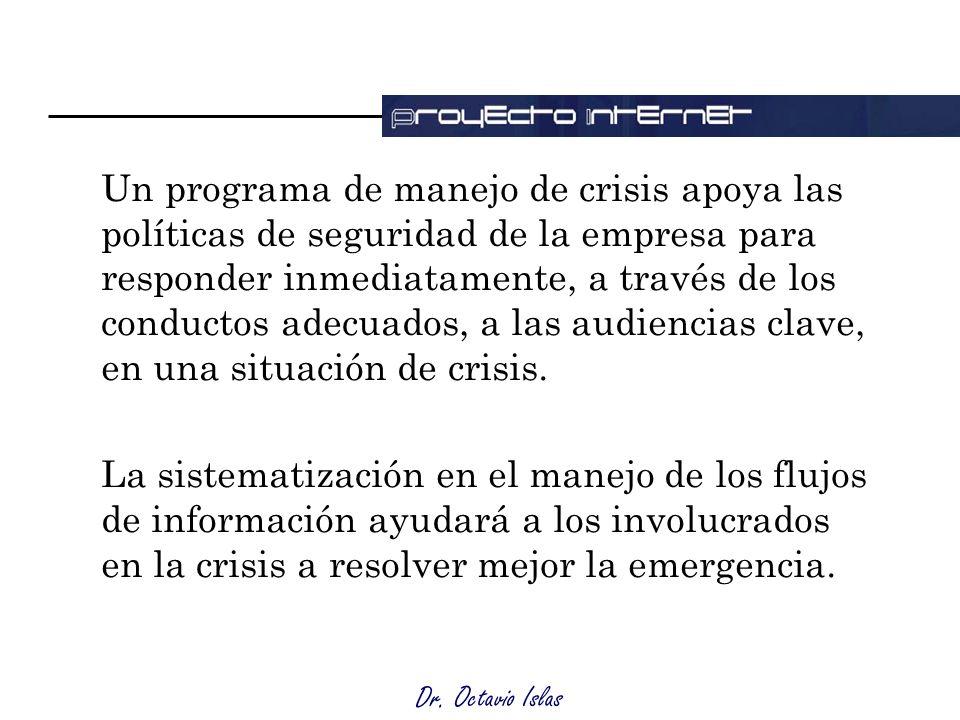Dr. Octavio Islas Un programa de manejo de crisis apoya las políticas de seguridad de la empresa para responder inmediatamente, a través de los conduc
