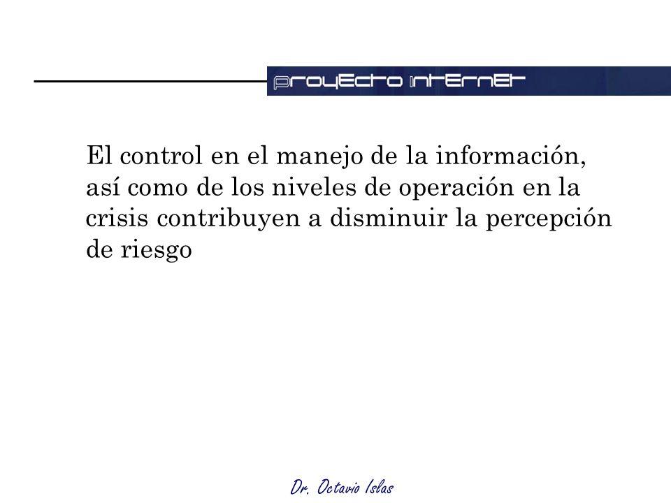 Dr. Octavio Islas El control en el manejo de la información, así como de los niveles de operación en la crisis contribuyen a disminuir la percepción d