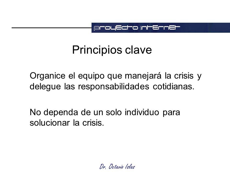 Dr. Octavio Islas Principios clave Organice el equipo que manejará la crisis y delegue las responsabilidades cotidianas. No dependa de un solo individ