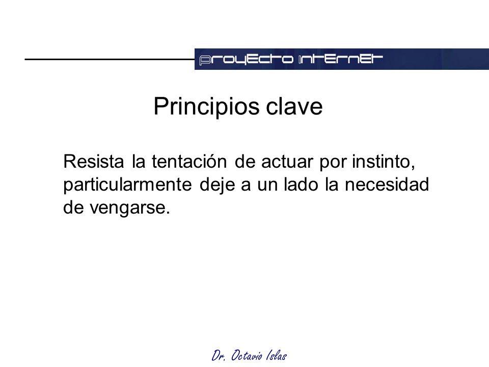 Dr. Octavio Islas Principios clave Resista la tentación de actuar por instinto, particularmente deje a un lado la necesidad de vengarse.