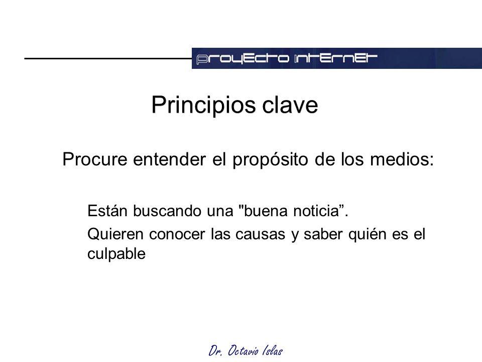 Dr. Octavio Islas Principios clave Procure entender el propósito de los medios: Están buscando una