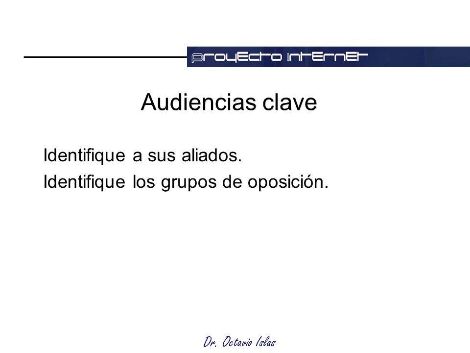 Dr. Octavio Islas Audiencias clave Identifique a sus aliados. Identifique los grupos de oposición.