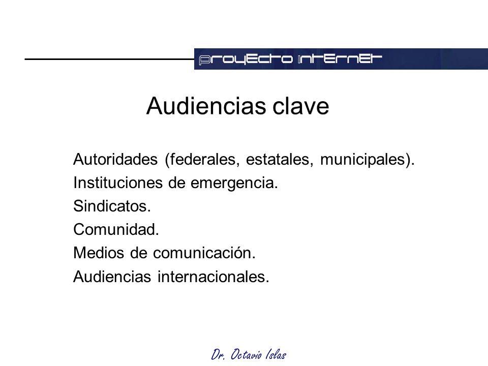 Dr. Octavio Islas Audiencias clave Autoridades (federales, estatales, municipales).