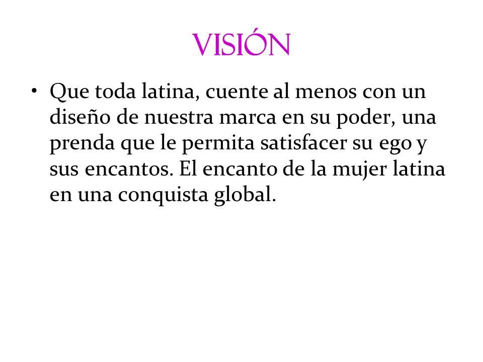 visión Que toda latina, cuente al menos con un diseño de nuestra marca en su poder, una prenda que le permita satisfacer su ego y sus encantos. El enc