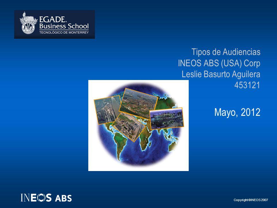 Copyright ©INEOS 2007 Tipos de Audiencias INEOS ABS (USA) Corp Leslie Basurto Aguilera 453121 Mayo, 2012
