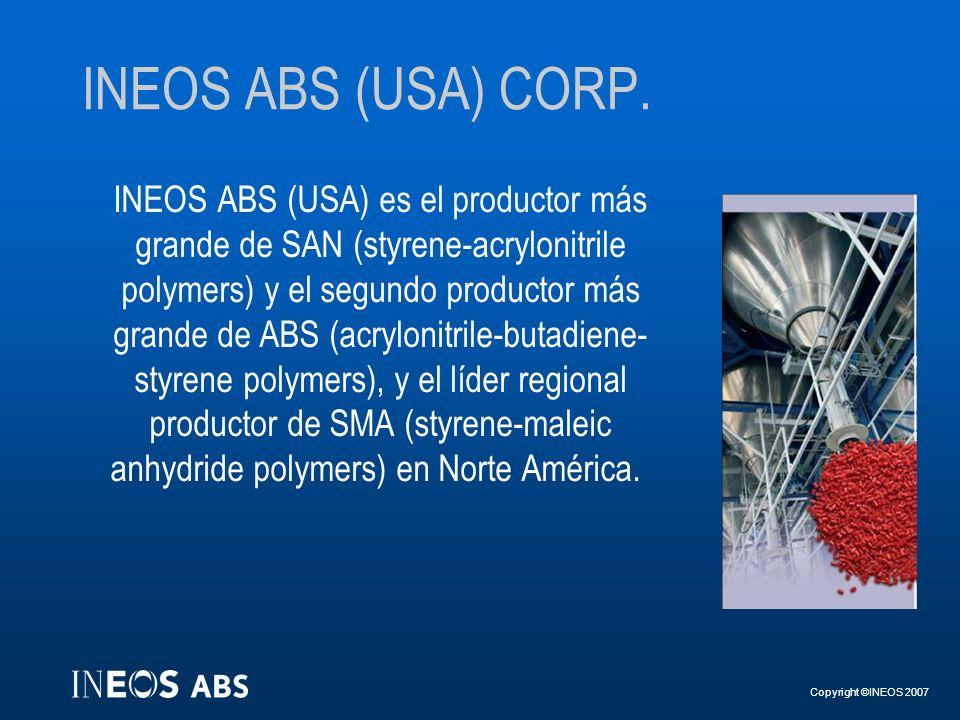Copyright ©INEOS 2007 INEOS ABS (USA) CORP. INEOS ABS (USA) es el productor más grande de SAN (styrene-acrylonitrile polymers) y el segundo productor