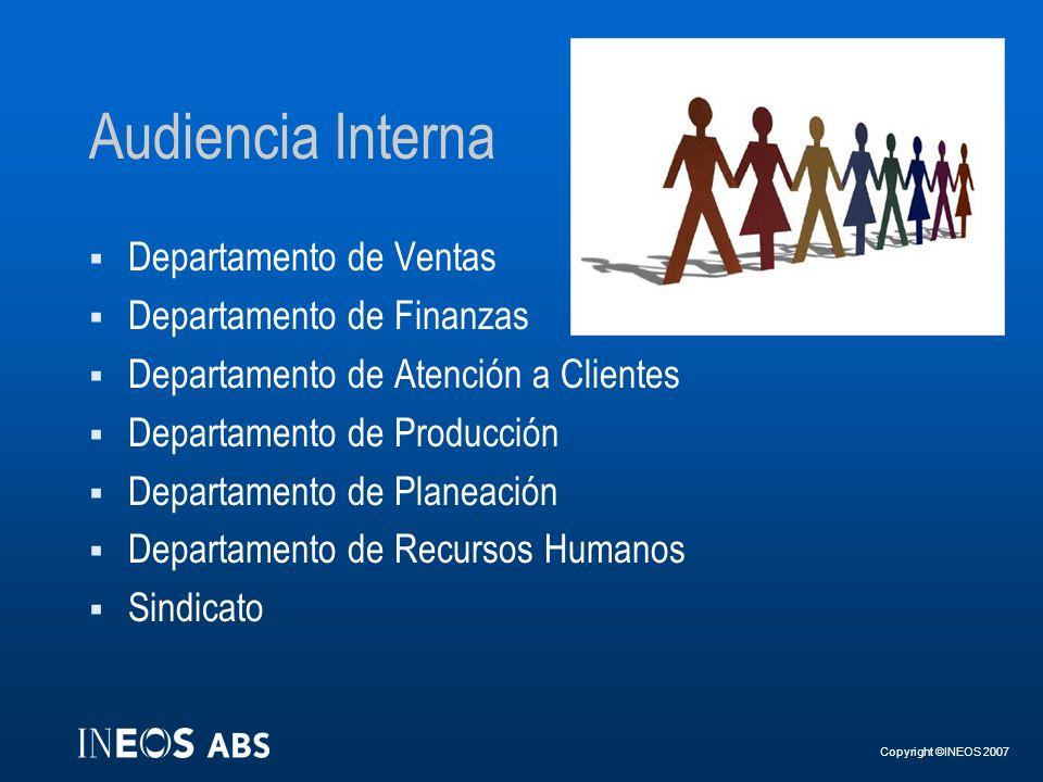 Copyright ©INEOS 2007 Audiencia Interna Departamento de Ventas Departamento de Finanzas Departamento de Atención a Clientes Departamento de Producción
