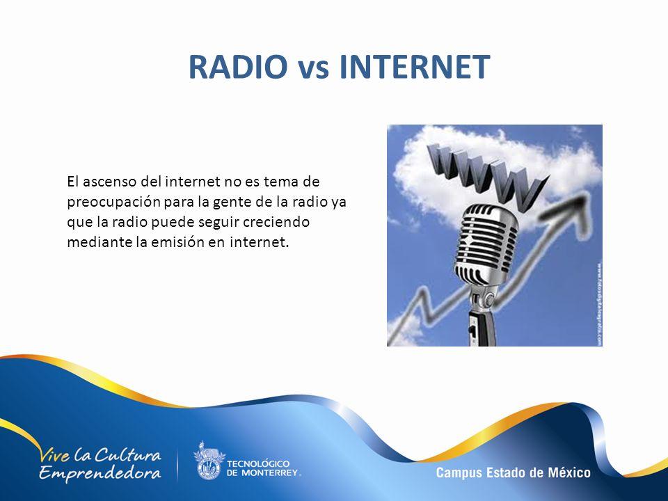 El ascenso del internet no es tema de preocupación para la gente de la radio ya que la radio puede seguir creciendo mediante la emisión en internet. R