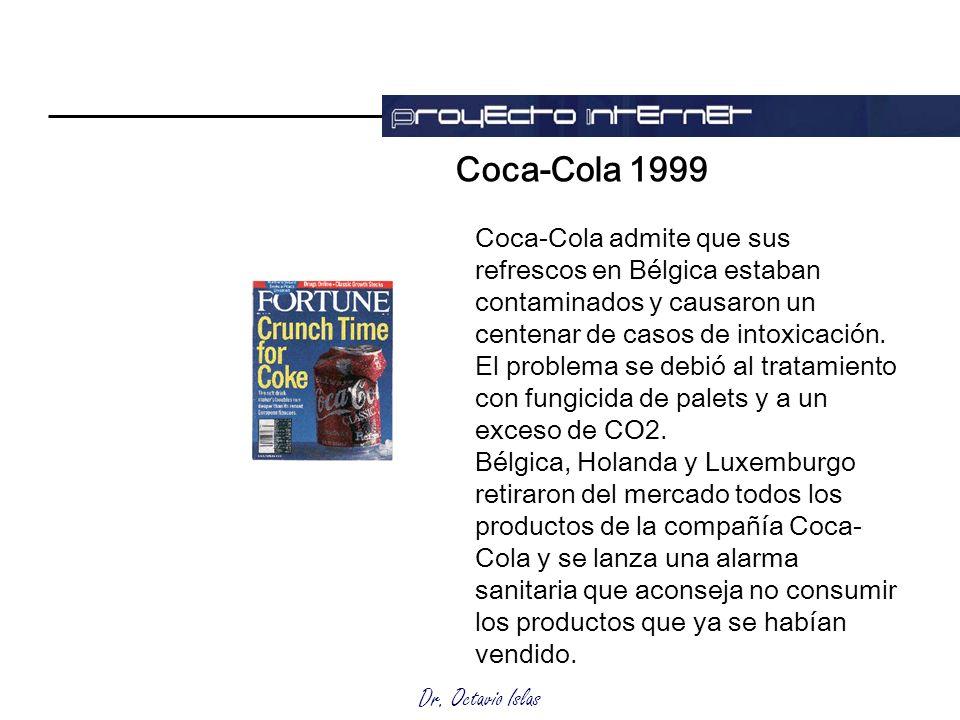Dr. Octavio Islas Coca-Cola 1999 Coca-Cola admite que sus refrescos en Bélgica estaban contaminados y causaron un centenar de casos de intoxicación. E