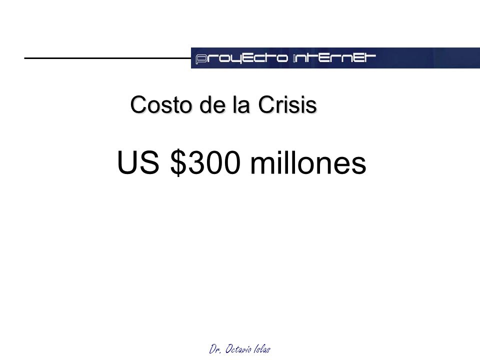Dr. Octavio Islas Costo de la Crisis US $300 millones