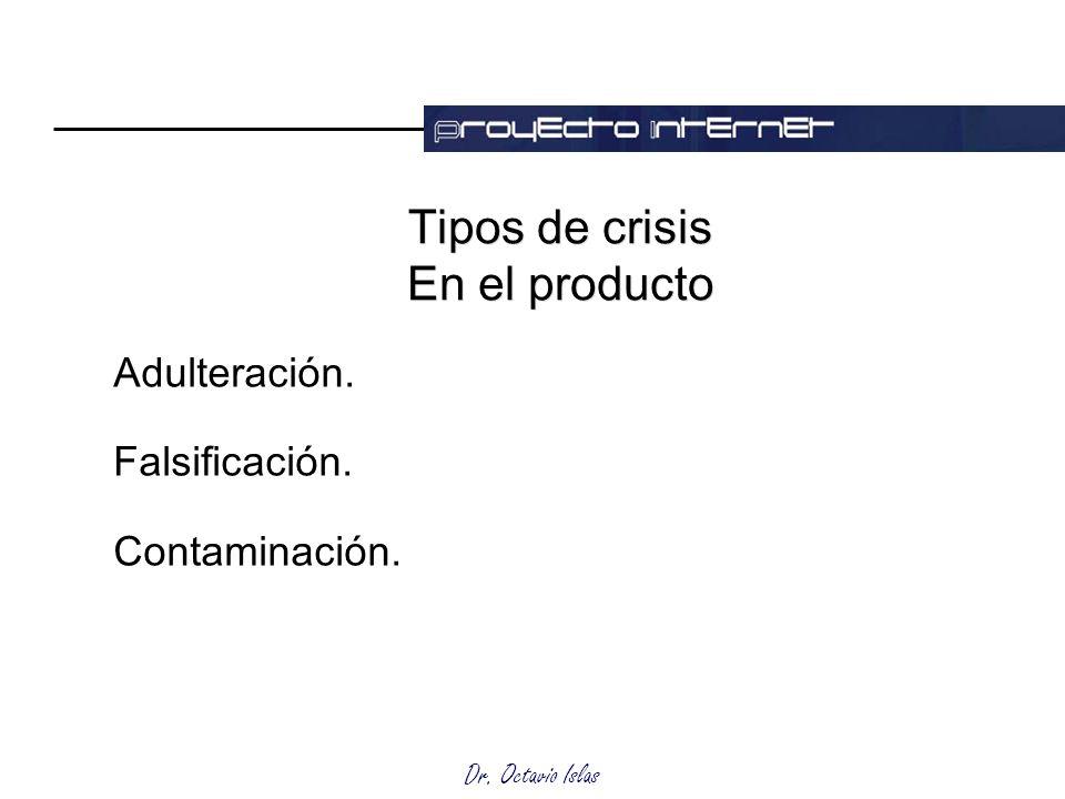 Dr. Octavio Islas Tipos de crisis En el producto Adulteración. Falsificación. Contaminación.
