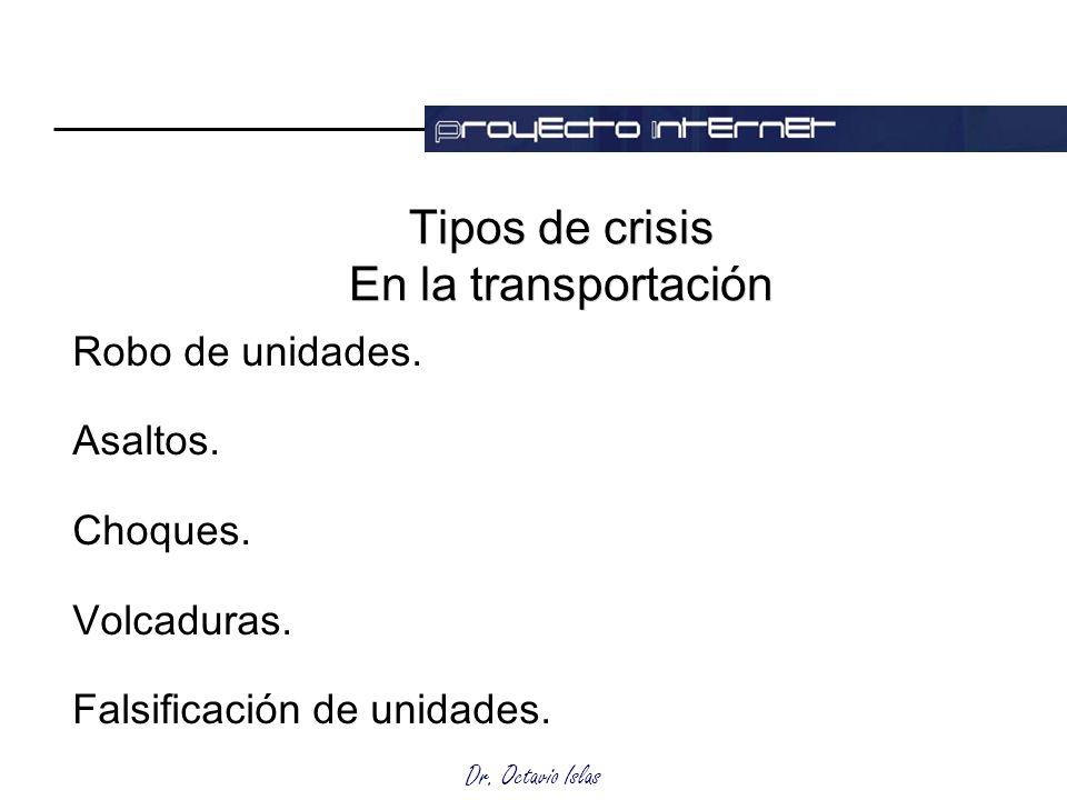 Dr. Octavio Islas Tipos de crisis En la transportación Robo de unidades. Asaltos. Choques. Volcaduras. Falsificación de unidades.