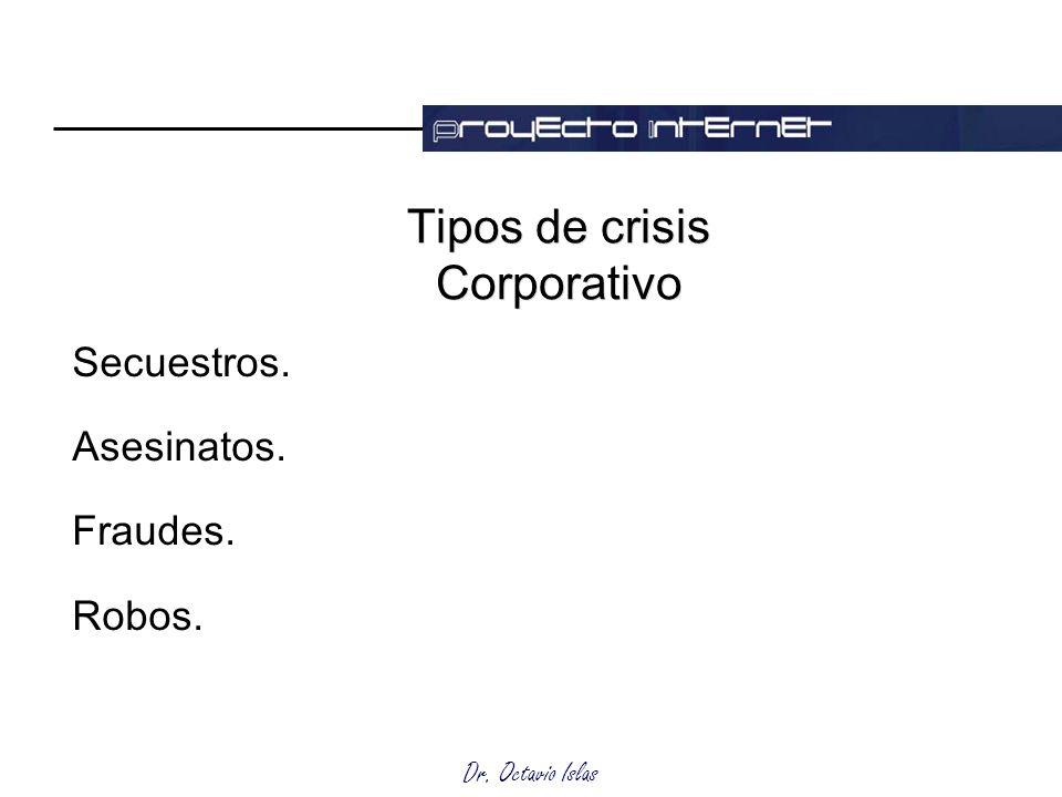 Dr. Octavio Islas Tipos de crisis Corporativo Secuestros. Asesinatos. Fraudes. Robos.