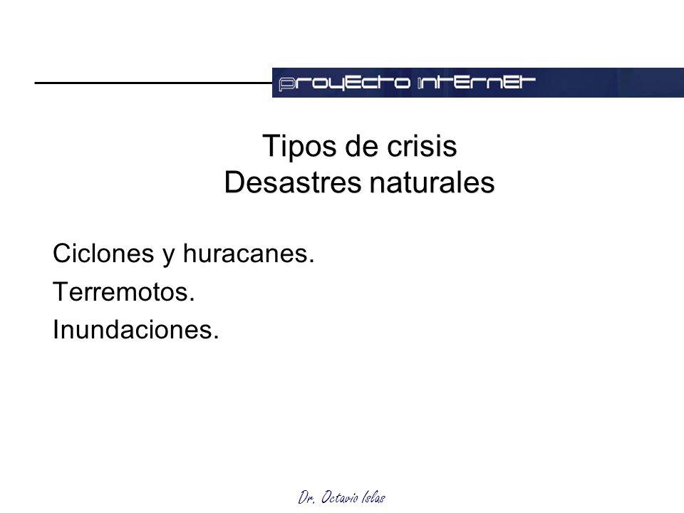 Dr. Octavio Islas Tipos de crisis Desastres naturales Ciclones y huracanes. Terremotos. Inundaciones.
