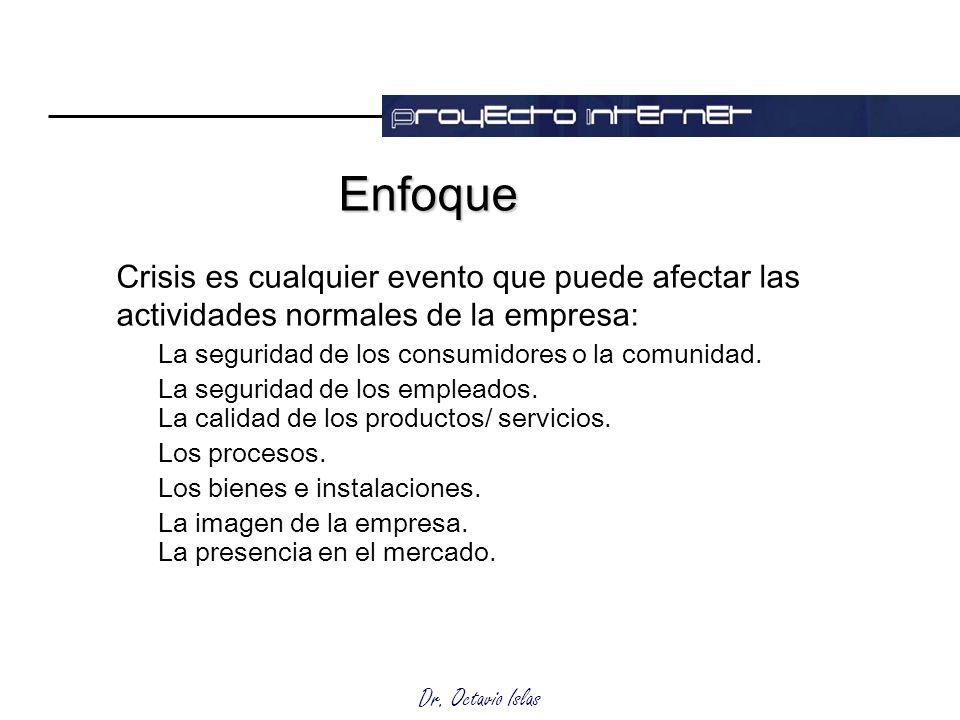 Dr. Octavio Islas EnfoqueEnfoque Crisis es cualquier evento que puede afectar las actividades normales de la empresa: La seguridad de los consumidores