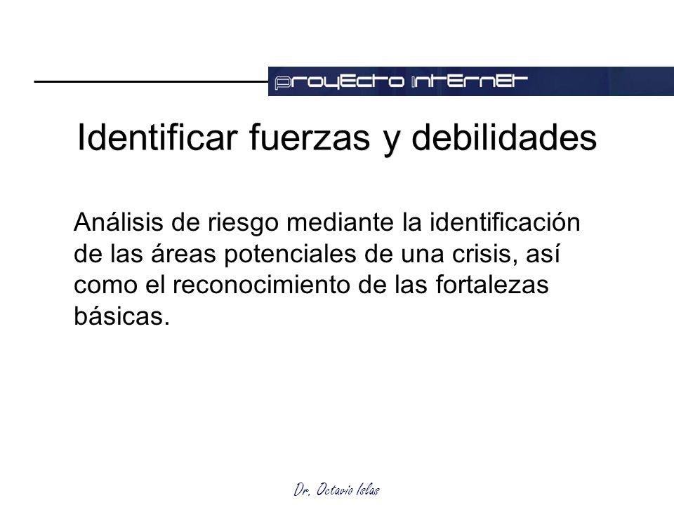 Dr. Octavio Islas Identificar fuerzas y debilidades Análisis de riesgo mediante la identificación de las áreas potenciales de una crisis, así como el