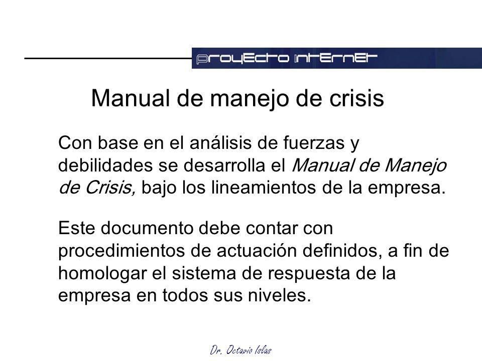 Dr. Octavio Islas Con base en el análisis de fuerzas y debilidades se desarrolla el Manual de Manejo de Crisis, bajo los lineamientos de la empresa. E
