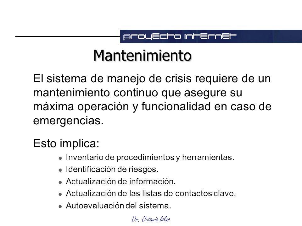 Dr. Octavio Islas MantenimientoMantenimiento El sistema de manejo de crisis requiere de un mantenimiento continuo que asegure su máxima operación y fu