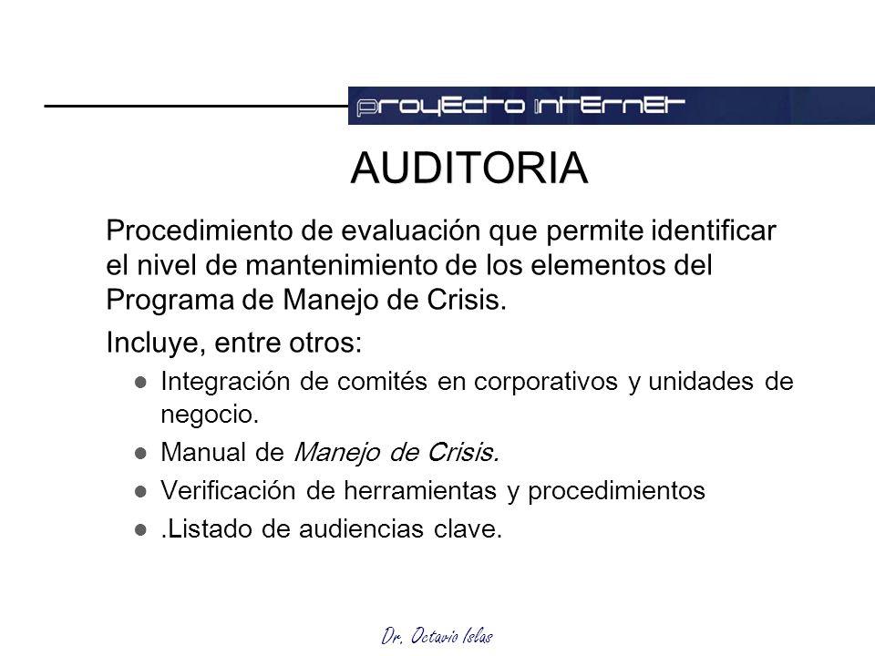 Dr. Octavio Islas AUDITORIA Procedimiento de evaluación que permite identificar el nivel de mantenimiento de los elementos del Programa de Manejo de C