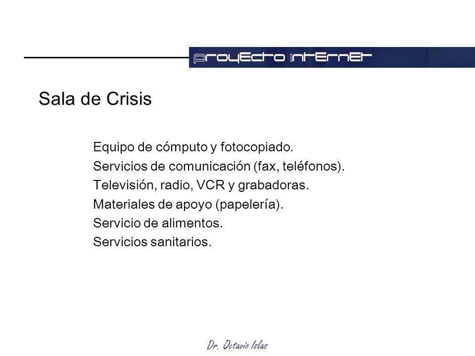 Dr. Octavio Islas Sala de Crisis Equipo de cómputo y fotocopiado. Servicios de comunicación (fax, teléfonos). Televisión, radio, VCR y grabadoras. Mat