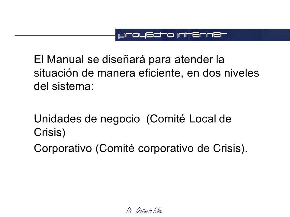 Dr. Octavio Islas El Manual se diseñará para atender la situación de manera eficiente, en dos niveles del sistema: Unidades de negocio (Comité Local d