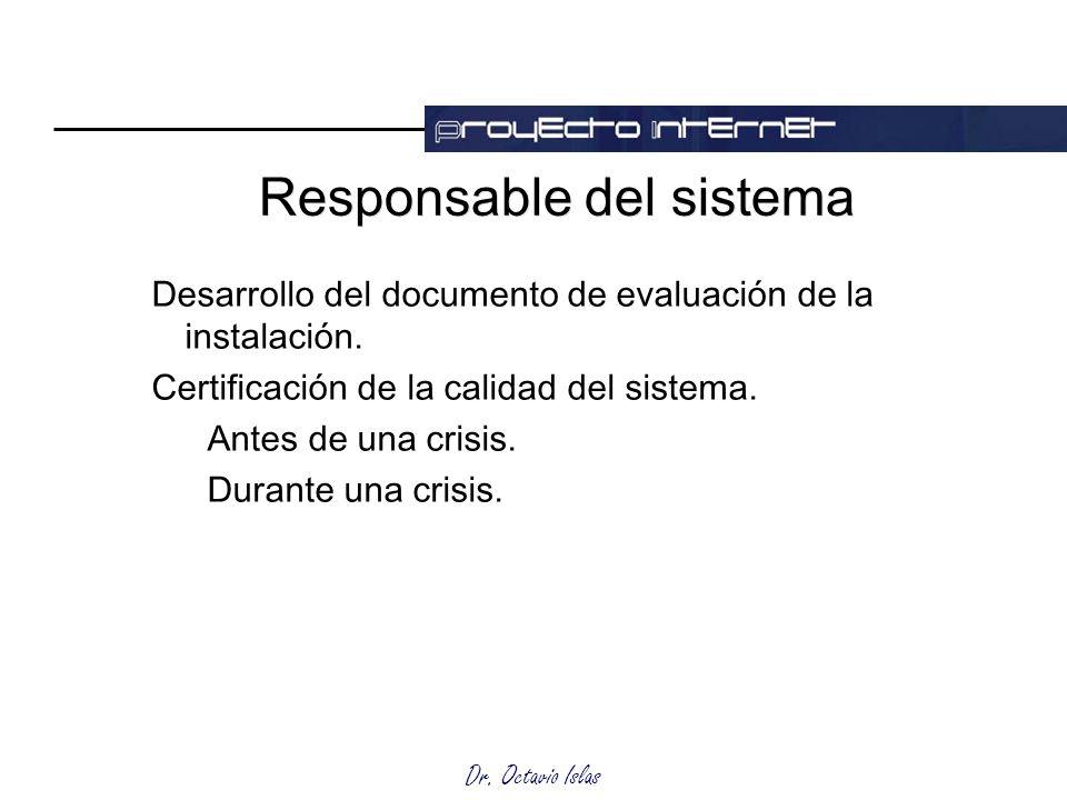 Dr. Octavio Islas Responsable del sistema Desarrollo del documento de evaluación de la instalación. Certificación de la calidad del sistema. Antes de