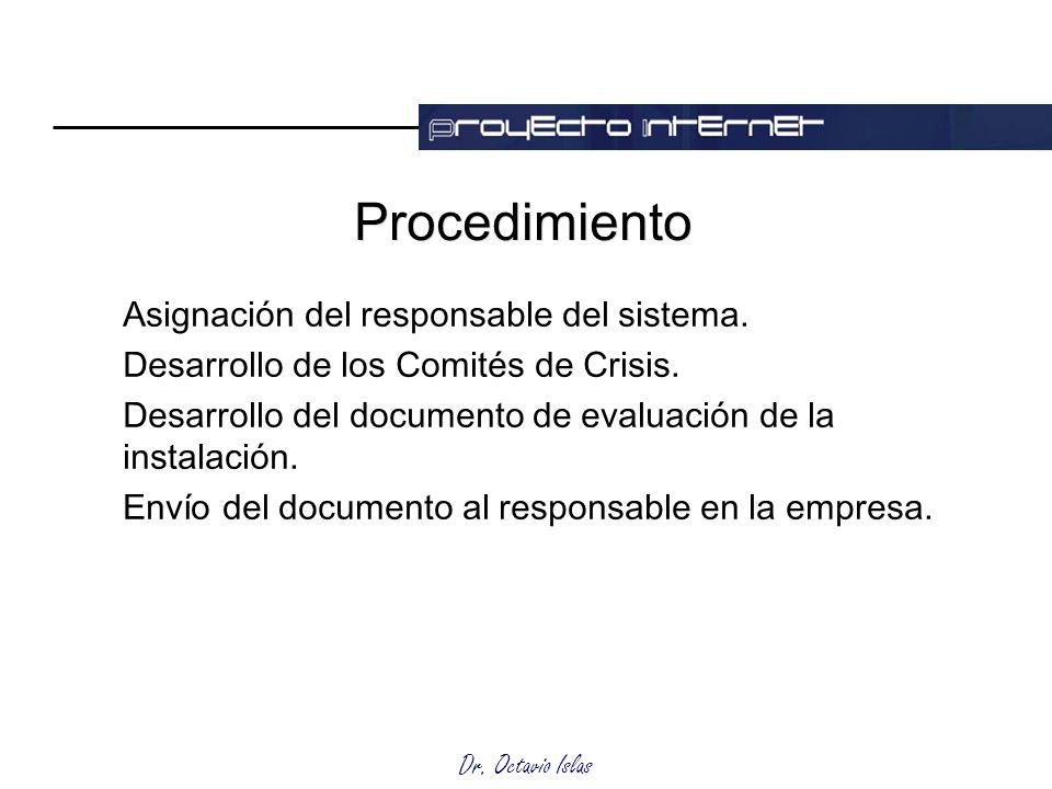 Dr. Octavio Islas Procedimiento Asignación del responsable del sistema. Desarrollo de los Comités de Crisis. Desarrollo del documento de evaluación de