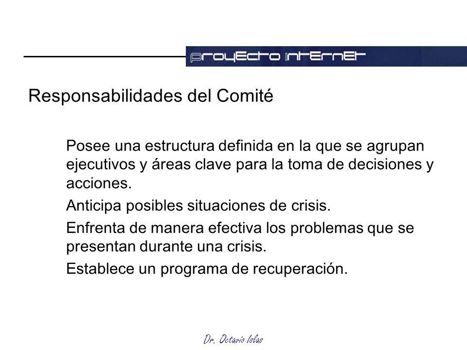 Dr. Octavio Islas Responsabilidades del Comité Posee una estructura definida en la que se agrupan ejecutivos y áreas clave para la toma de decisiones