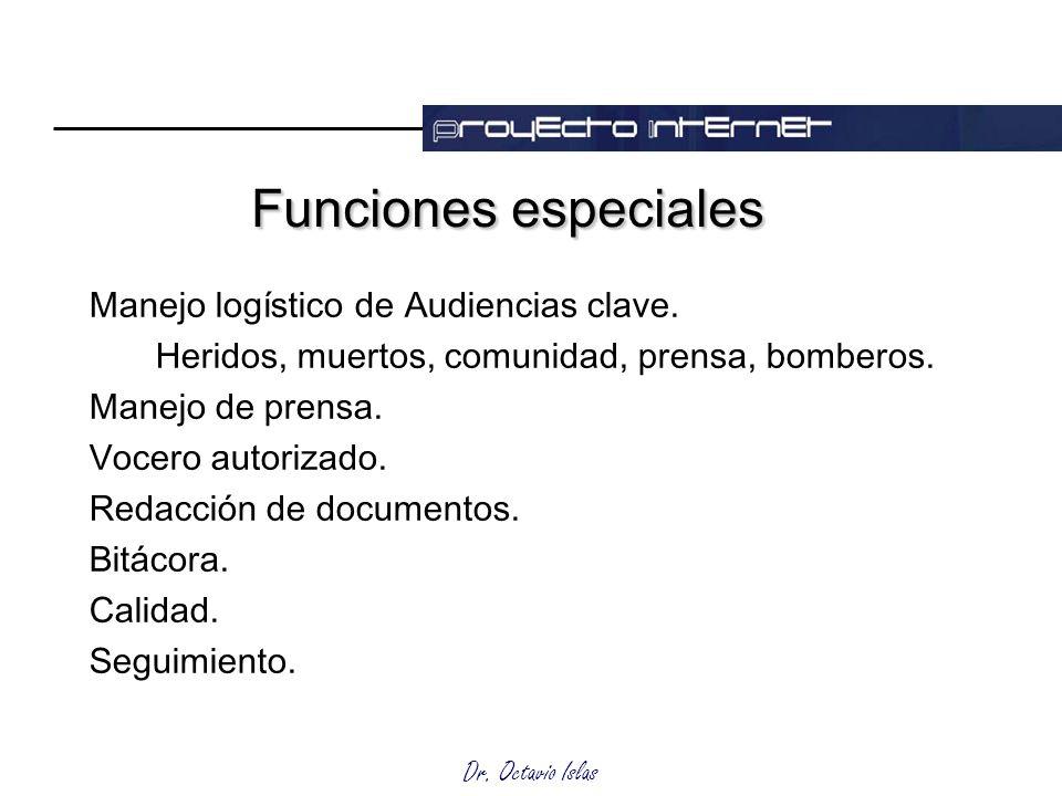 Dr. Octavio Islas Funciones especiales Manejo logístico de Audiencias clave. Heridos, muertos, comunidad, prensa, bomberos. Manejo de prensa. Vocero a