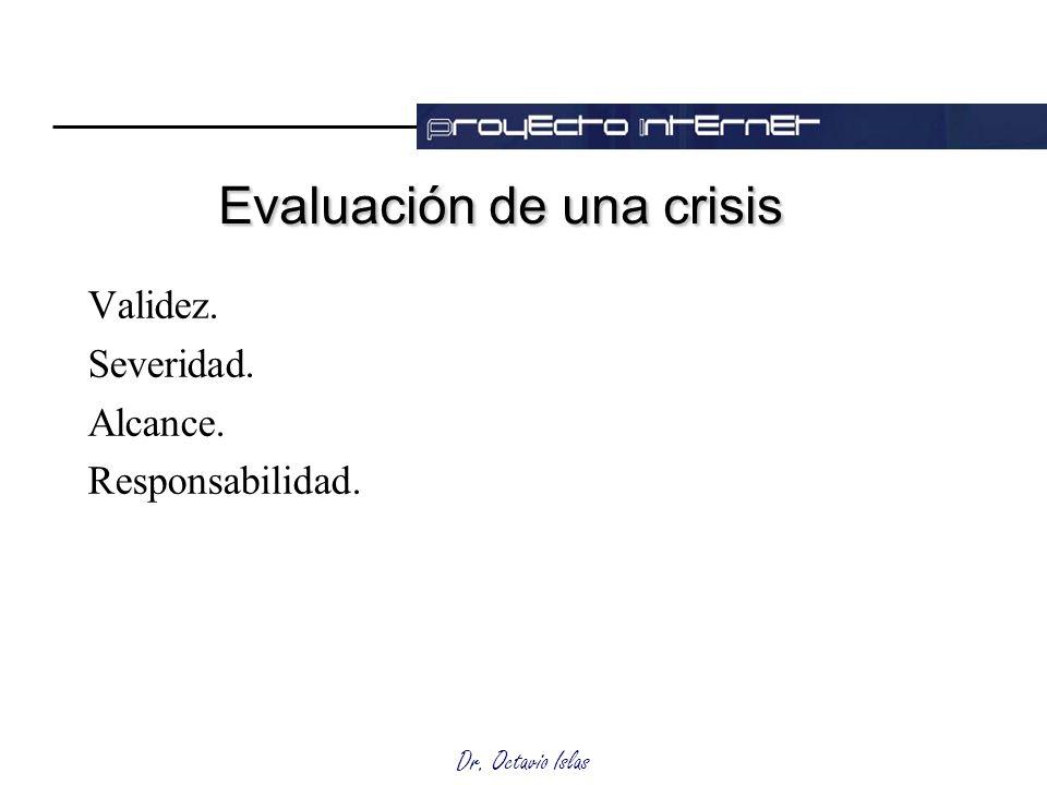 Dr. Octavio Islas Evaluación de una crisis Validez. Severidad. Alcance. Responsabilidad.