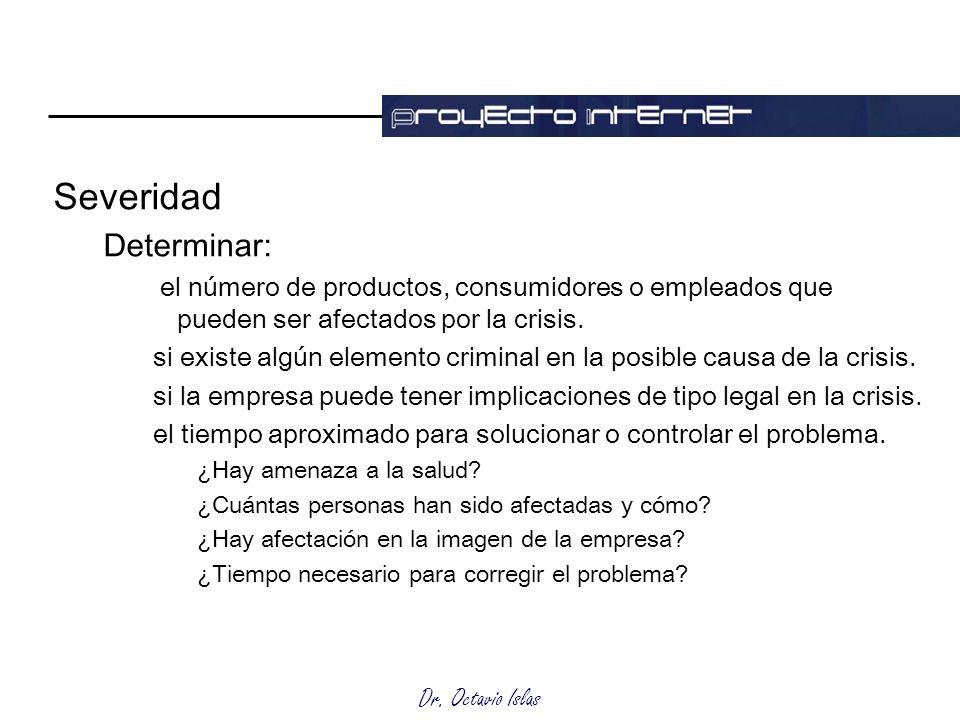 Dr. Octavio Islas Severidad Determinar: el número de productos, consumidores o empleados que pueden ser afectados por la crisis. si existe algún eleme