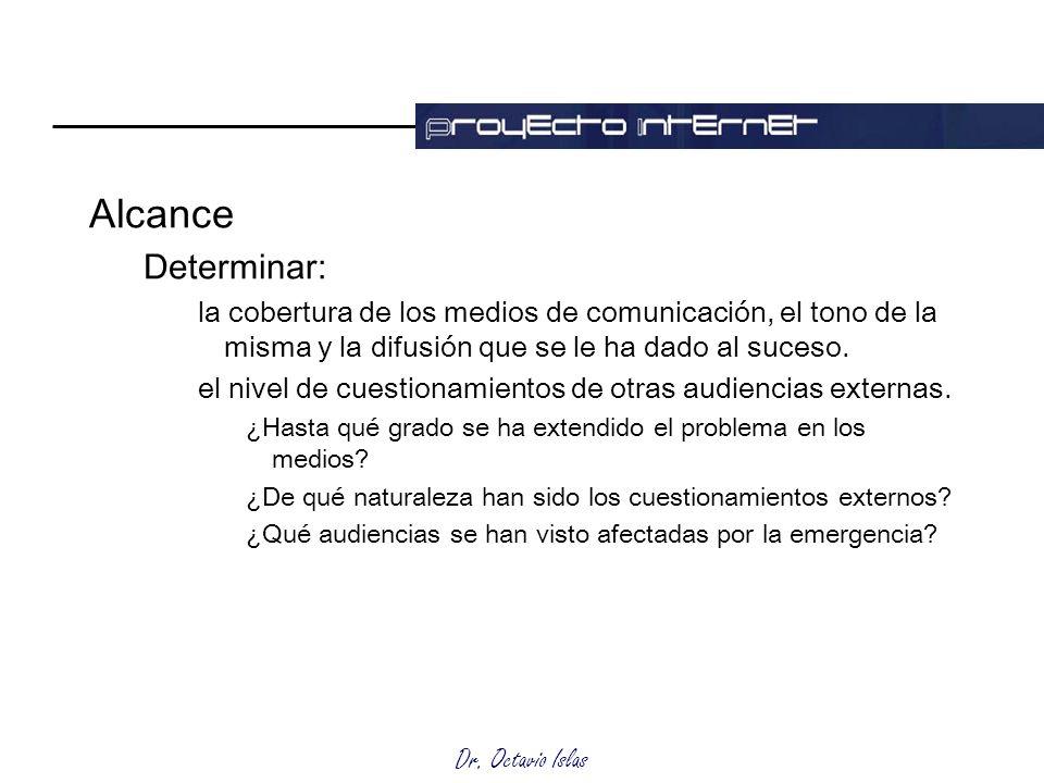 Dr. Octavio Islas Alcance Determinar: la cobertura de los medios de comunicación, el tono de la misma y la difusión que se le ha dado al suceso. el ni