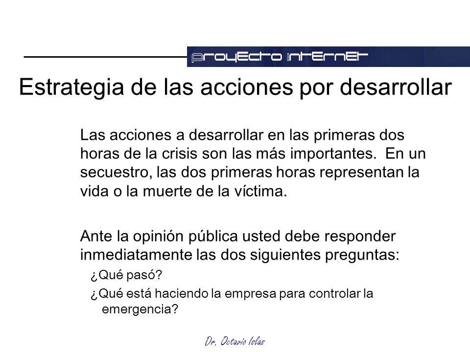 Dr. Octavio Islas Estrategia de las acciones por desarrollar Las acciones a desarrollar en las primeras dos horas de la crisis son las más importantes