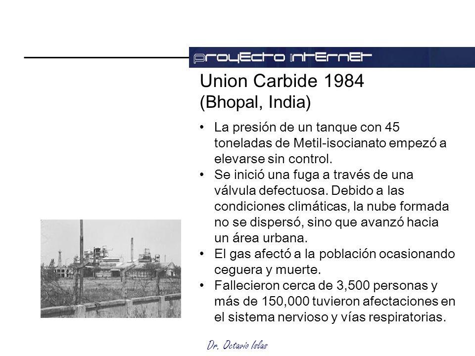 Dr. Octavio Islas Union Carbide 1984 (Bhopal, India) La presión de un tanque con 45 toneladas de Metil-isocianato empezó a elevarse sin control. Se in