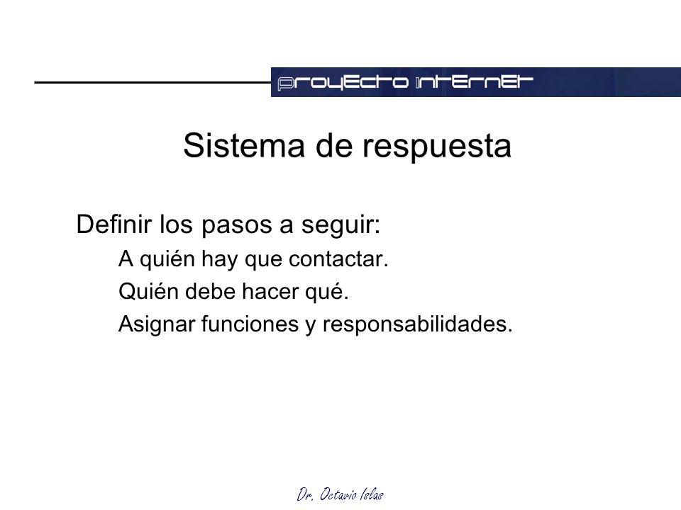 Dr. Octavio Islas Sistema de respuesta Definir los pasos a seguir: A quién hay que contactar. Quién debe hacer qué. Asignar funciones y responsabilida